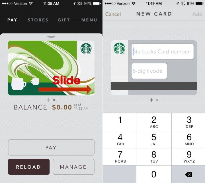 how to add gift card on starbucks app 1