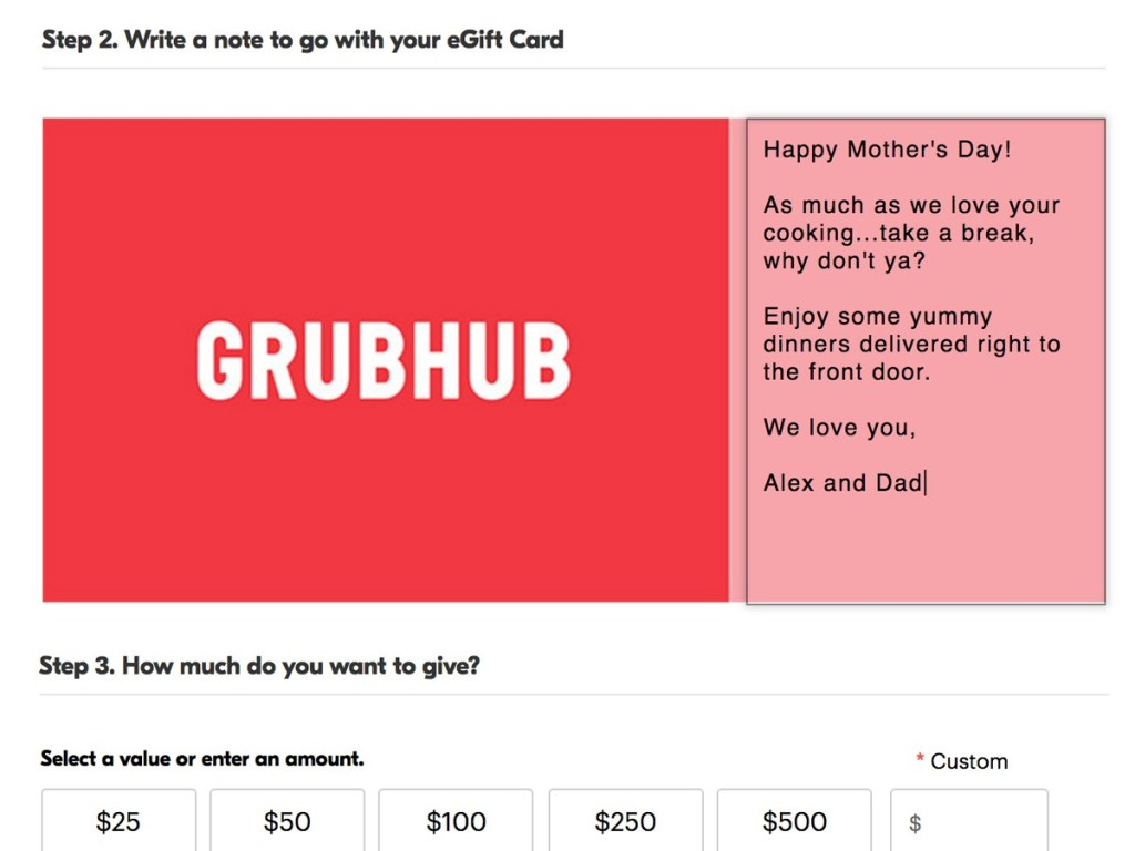 GrubHub gift card code photo - 1