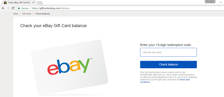 ebay gift card balance check photo - 1