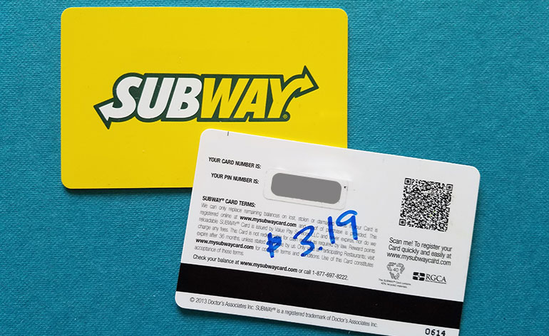 gift card balance Subway photo - 1