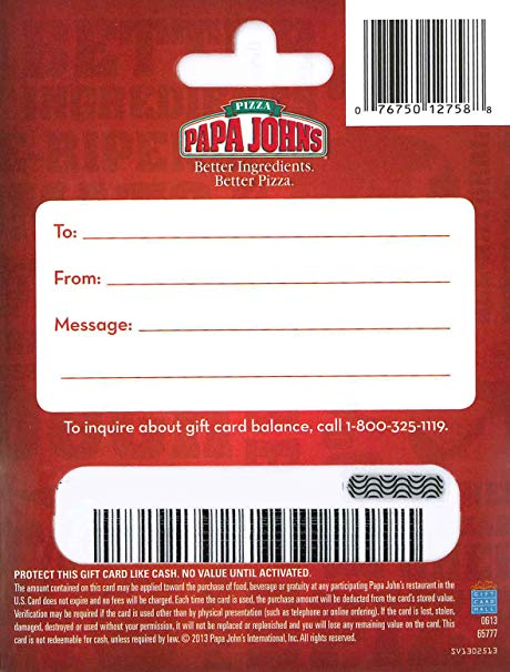 papa johns gift card balance photo - 1