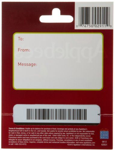 Applebees gift card pin number photo - 1